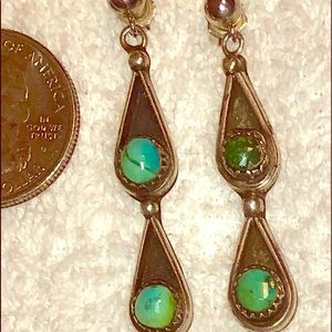 Jewelry - Sterling silver and turquoise tear drop earrings.